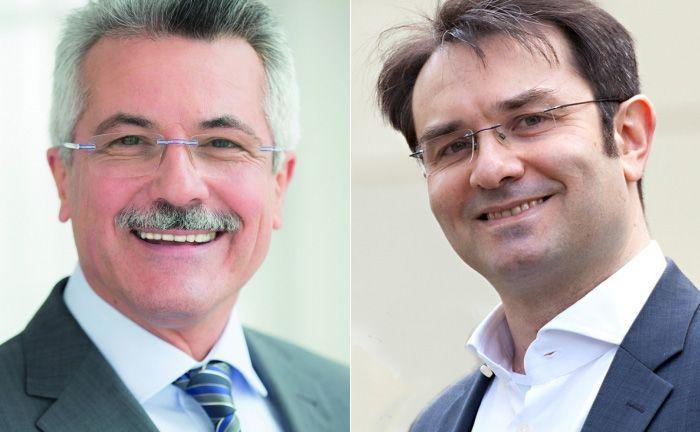 Ihre Unternehmen entwickeln künftig gemeinsam digitale Produkte fürs Wertpapiergeschäft: Rudolf Geyer (l.), Sprecher der Geschäftsführung von Ebase und Niiio-Vorstand Johann Horch