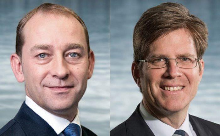 Der Vorstandschef der Bellevue Gruppe André Rüegg und der zurückgetretene Vorstandvorsitzende der Bankhauses Serge Monnerat