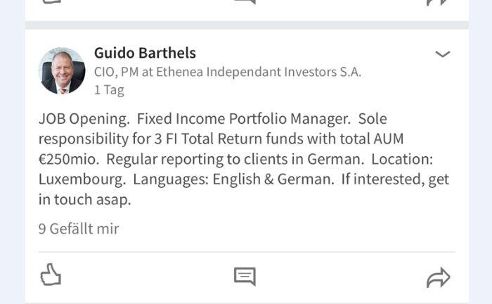 Screenshot des Linkedin-Posts mit der freien Stelle von Ethenea-Finanzchef Guido Barthels