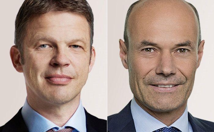 Rücken zu stellvertretenden Vorstandsvorsitzenden auf: Christian Sewing (l.) und Marcus Schenck|© Deutsche Bank