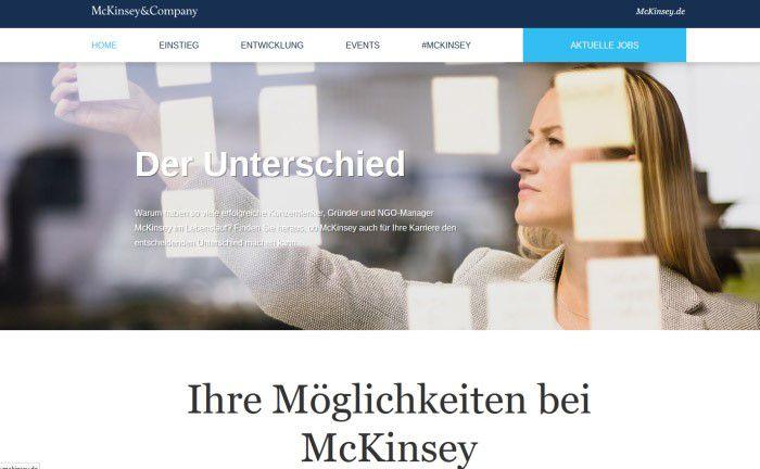 Das neugestaltete Jobportal der Unternehmensberatung McKinsey