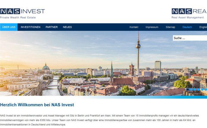 Screenshot der Internetseite von NAS Invest