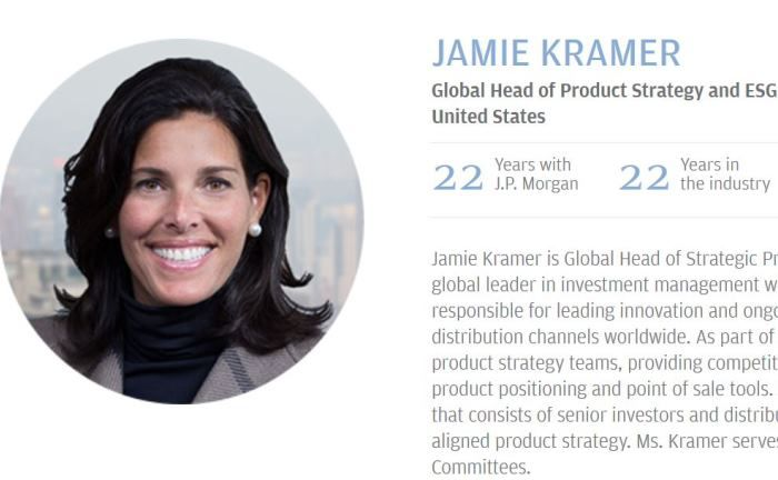 Leitet das Sustainable Investment Leadership Team von J.P. Morgan Asset Management: Jamie Kramer auf der Internetseite des Vermögensverwalters