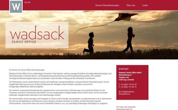 Screenshot der Wadsack-Internetseite