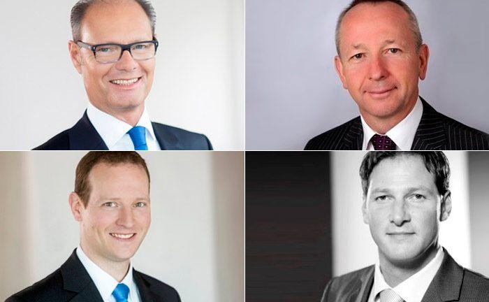 Verlassen die Deutsche Oppenheim (im Uhrzeigersinn, beginnend links oben): Dietmar Schunk, Wilfried Hoffmann, Sascha Fuchs und Rüdiger Holm