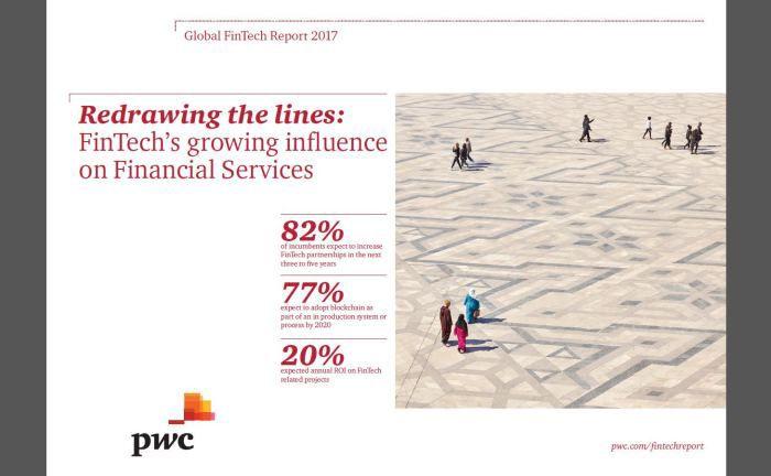 """Der """"Global Fintech Report 2017"""" der Wirtschaftsprüfungs- und Beratungsgesellschaft Pricewaterhouse Coopers"""