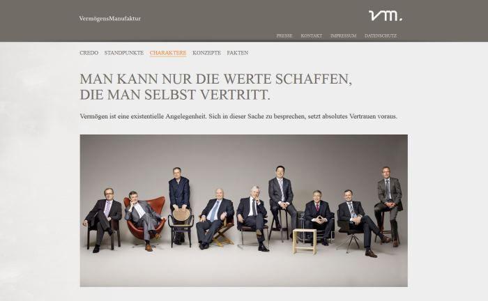 Die neue berufliche Heimat von Volker Korte und Barthel Pünder: Screenshot der VM Vermögens-Management