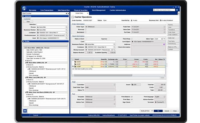 Screenshot der Avaloq Banking Suite | © Avaloq