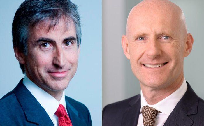 Andreas Haindl (l.), Vorstandsvorsitzender der Mainfirst Bank und der neue Mehrheitsaktionär Luca Pesarini