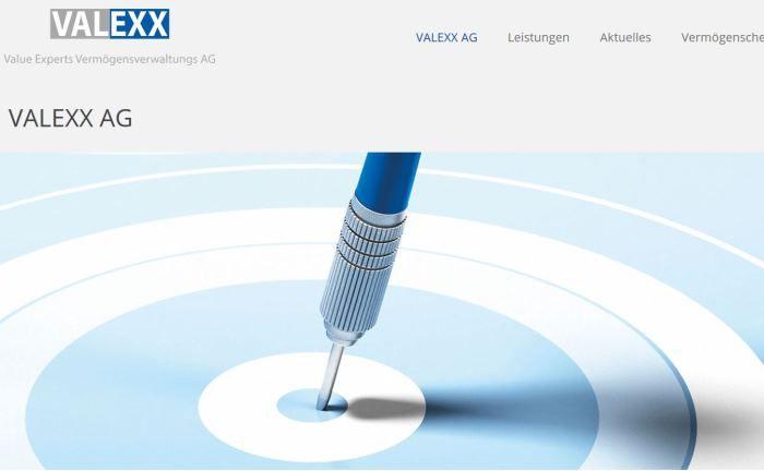 Screenshot der Valexx-Webseite