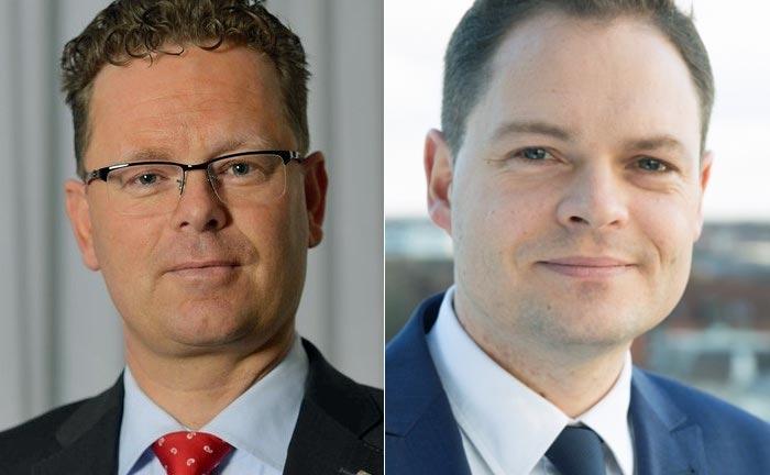 Der scheidende Heiko Droste (l.) und  Christoph Siebecke, Leiter Asset und Portfoliomanagement im Wealth Management der OLB