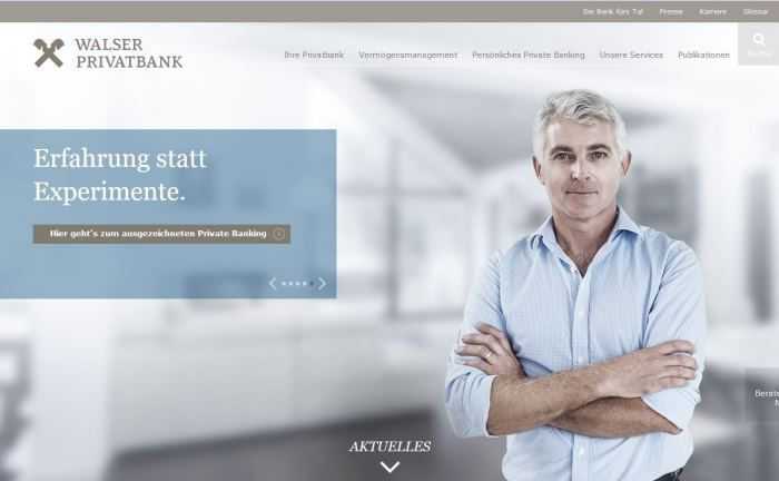 Screenshot der Internetseite der Walser Privatbank