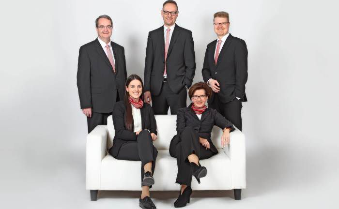 Die Mitarbeiter der Private Banking-Abteilung der Kreissparkasse Freudenstadt: (v.l.n.r.) Abteilungsdirektor Winfried Asprion, Assistenz Jennifer Wälde, die Private Banking-Berater Thomas Michel, Christiane Frey und Henning Rahm. | © KSK Freudenstadt