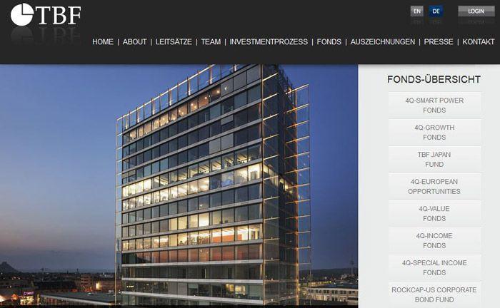 Internetauftritt des Vermögensverwalters TBF Global Asset Management. Abgebildet ist der Hegau-Tower am Hauptsitz des Unternehmens in Singen