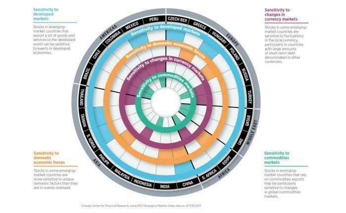 Individuelle Emerging Markets: Die Abhängigkeiten zu Währungen, Rohstoffmärkten, Industrieländern oder Binnenmarkt ist unterschiedlich stark ausgeprägt|© Schwab Center for Financial Research