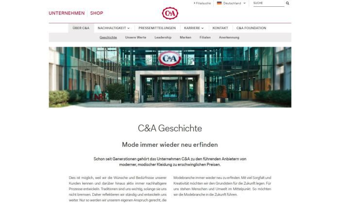 Screenshot der C&A-Homepage