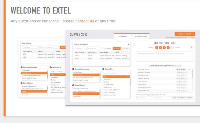 Startseite der Website von Extel, eine Tochtergesellschaft des britischen Marktforschungsinstituts Weconvene