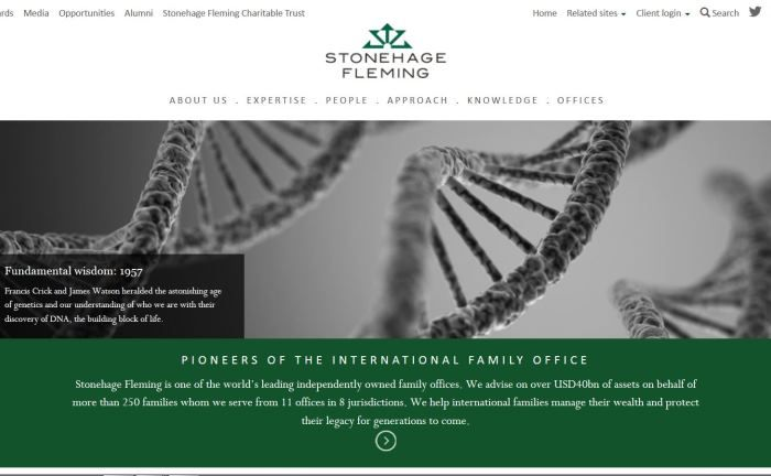Screenshot der Homepage des Multi Family Office Stonehage Fleming