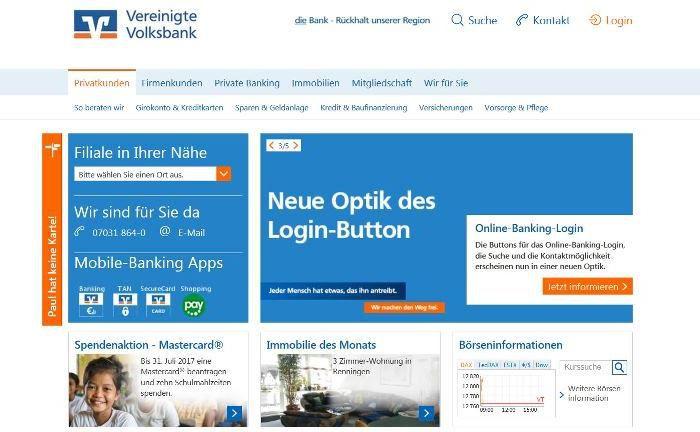 Screenshot der Homepage der Vereinigten Volksbank