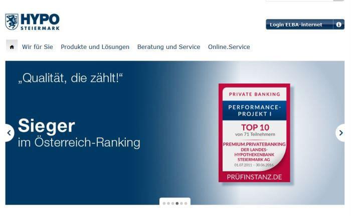 Screenshot der Homepage der Landes-Hypothekenbank Steiermark