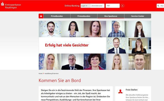 Screenshot der Karriereseite der Kreissparkasse Reutlingen