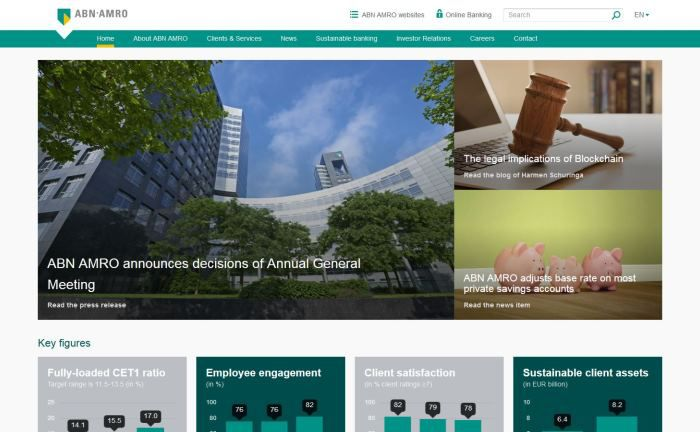 Screenshot der ABN-Amro-Homepage
