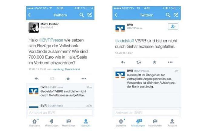 Twitter-Konversation aus dem Jahr 2015 zwischen Chefredakteur Malte Dreher und dem Bundesverband der Deutschen Volksbanken und Raiffeisenbanken zur Gehaltshöhe von Vorständen