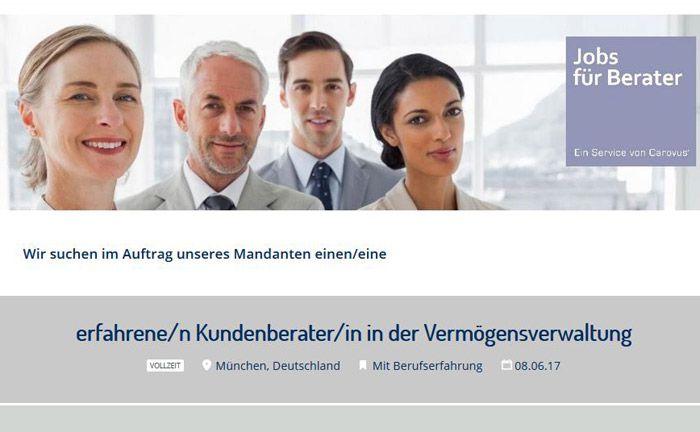 Screenshot der Homepage der Service- und Marketingplattform Carovus mit dem Stellengesuch des Münchner Vermögensverwalters