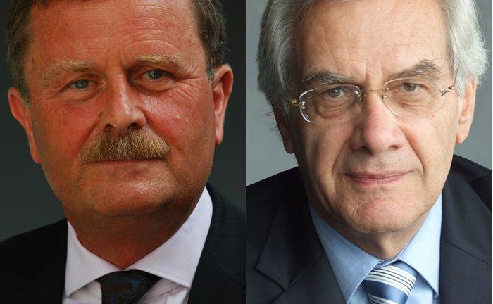 Frank Ulrich Montgomery (l.) folgt auf Hermann Stefan Keller als Aufsichtsartsvorsitzender der Apobank