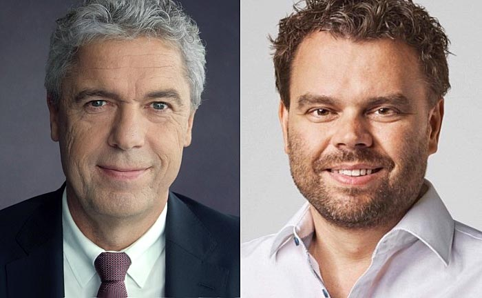 Jörg Ludewig (l.), Generalbevollmächtigter der Haspa und verantwortlich für das Private Banking sowie Investify-Gründer Tobias Haustein