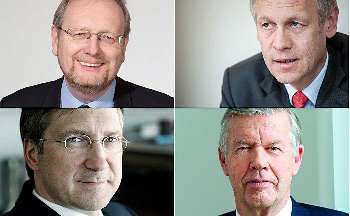 Zählen nach Erträgen zu den besten Vermögensverwaltern in Deutschland: Starcapital-Chef Peter Huber (oben links), Acatis-Chef Hendrik Leber (oben rechts), Bert Flossbach (unten links), Mitgründer und Vorstand von Flossbach von Storch sowie Jens Ehrhardt, Gründer und Chef von DJE Kapital