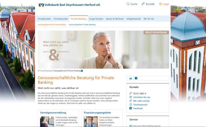 Screenshot der Webseite der Volksbank Bad Oeynhausen-Herford