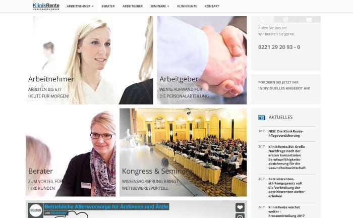 Screenshot der Webseite des Klinikrente Versorgungswerkes