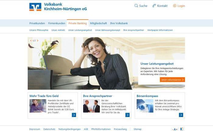 Screenshot der Webseite der Volksbank Kirchheim-Nürtingen