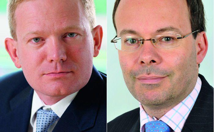 Belegen mit ihren Europa-Aktienfonds in der Fünf-Jahres-Performance die ersten beiden Plätze: Jeff Taylor (l.), Manager des Fonds Invesco Euro Equity, gefolgt von Oliver Kelton, Manager des Fonds Odey European Focus