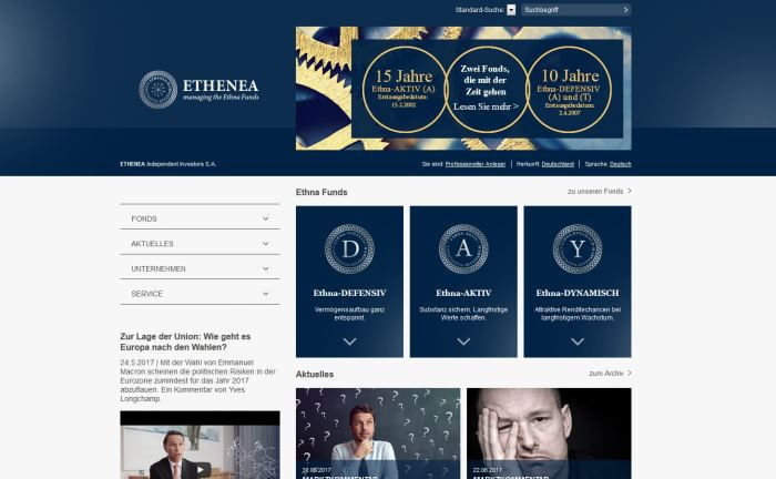 Screenshot der Ethenea-Webseite