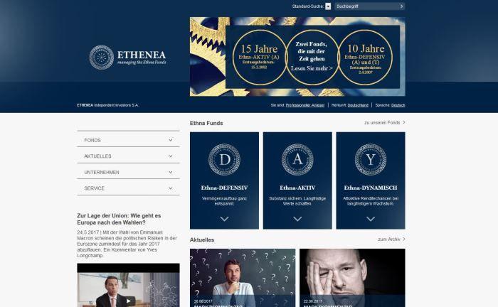 Screenshot der Ethenea-Webseite