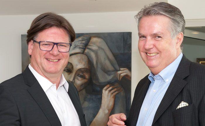 Christoph Weber (r.) ist geschäftsführender Gesellschafter des Düsseldorfer Multi Family Office WSH, Lars Crone ist Geschäftsleiter des WSH Private Office
