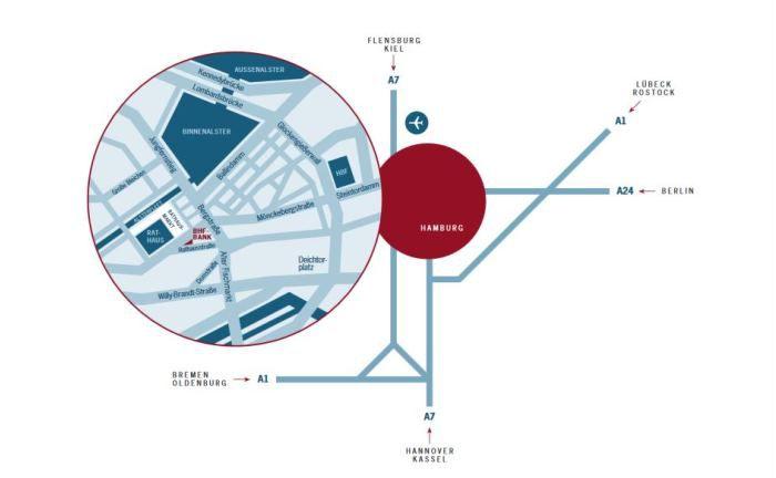 Anfahrtsskizze der BHF-Bank-Niederlassung Hamburg