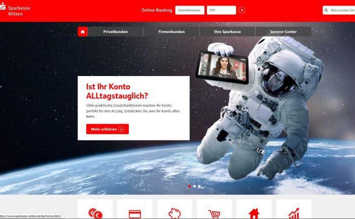Webseiten-Screenshot der Sparkasse Witten