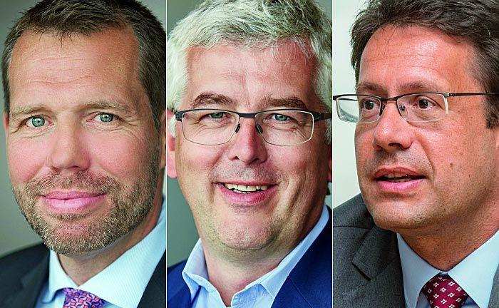 Oliver Morath (l.), Vertriebsleiter der FvS-Fondssparte, FvS-Vorstand Dirk von Velsen (M.) und FvS-Portfoliomanager Elmar Peters