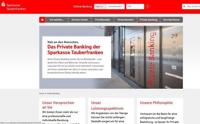 Screenshot der Webseite der Sparkasse Tauberfranken