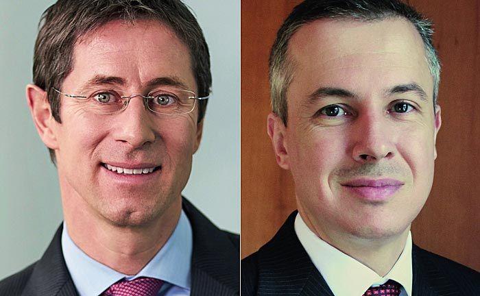 Georg Schubiger (l.), Leiter des Vontobel Private Banking und Adrian Künzi, Chef von Notenstein La Roche
