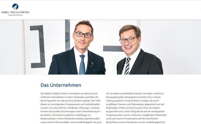 Screenshot der Unternehmens-Webseite: Die Geschäftsführer von Habbel, Pohlig & Partner Oliver Voigt (l.) und Matthias Habbel