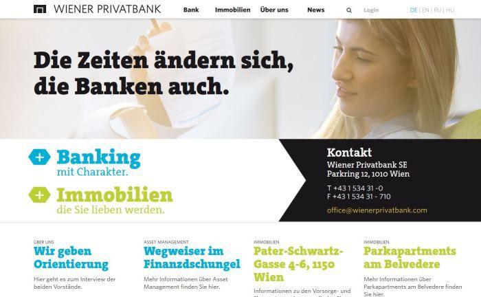 Screenshot der Webseite der Wiener Privatbank