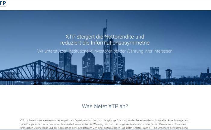 Screenshot der XTP-Webseite: Das Analysehaus will mit Neumanns Unterstützung in Deutschland und Europa weiter wachsen. |© XTP