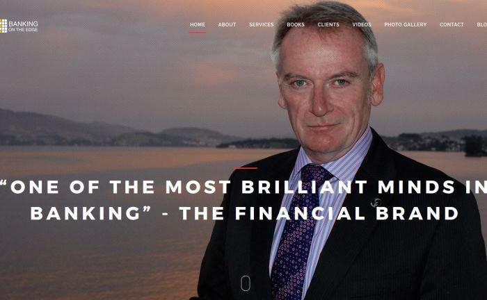 Screenshot von Skinners Webseite: Der Experte sieht Kooperationen mit Fintechs als einzigen Weg für Banken, die Digitalisierung zu meistern.