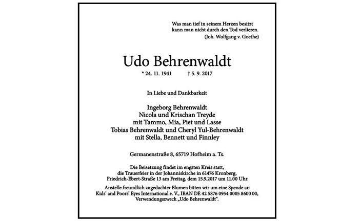 Traueranzeige um den verstorbenen Udo Behrenwaldt: Der langjährige DWS-Geschäftsführer ist verstorben.