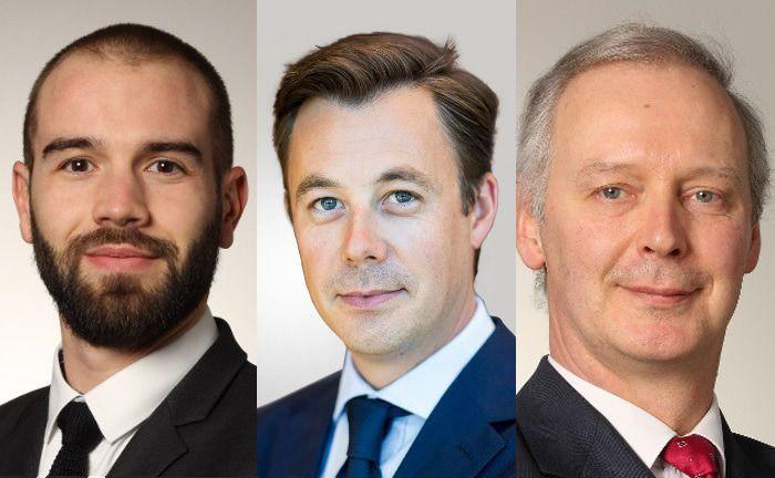 Damien Martin (li.) verwaltet zusammen mit Nicolas Forest (Mitte) und Alain Péters als Co-Managern den neu aufgelegten Candriam Bonds Total Return Defensive. |© Candriam