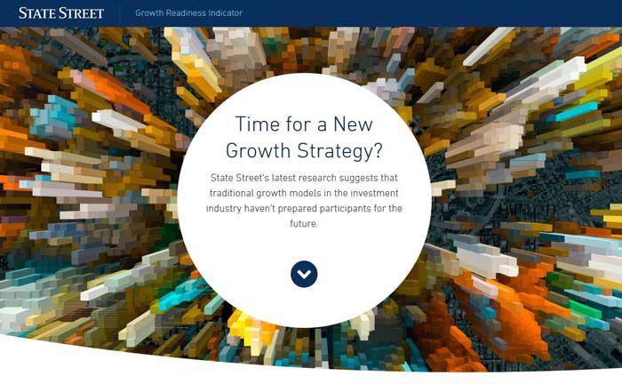 Screenshot der Website des neuen Benchmark-Tools von State Street: Asset Manager können hier ihre Wachstumsfähigkeiten mit den Wettbewerbern vergleichen.|© State Street